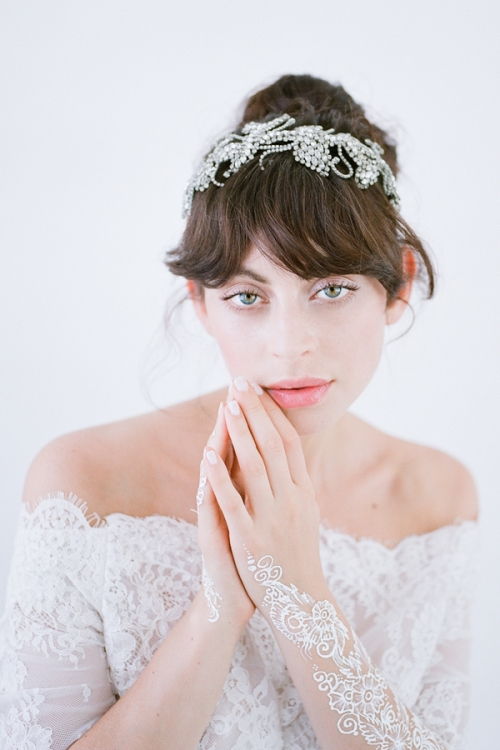 Halcyon Bridal Headband - Vintage Inspired Crystal Weddings Adornments by Bride La Boheme