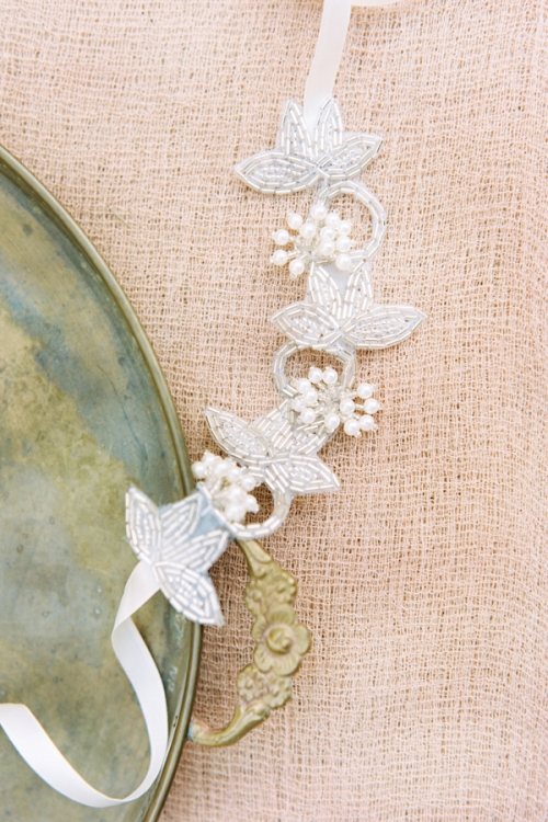 nature inspired boho wrist sash with ivory pearls and ivory ribbon