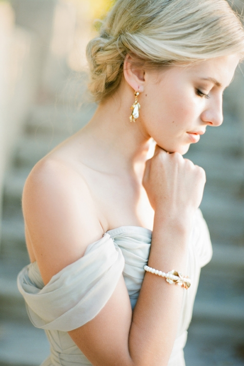 Gold Floral Wedding Earrings by Bride La Boheme