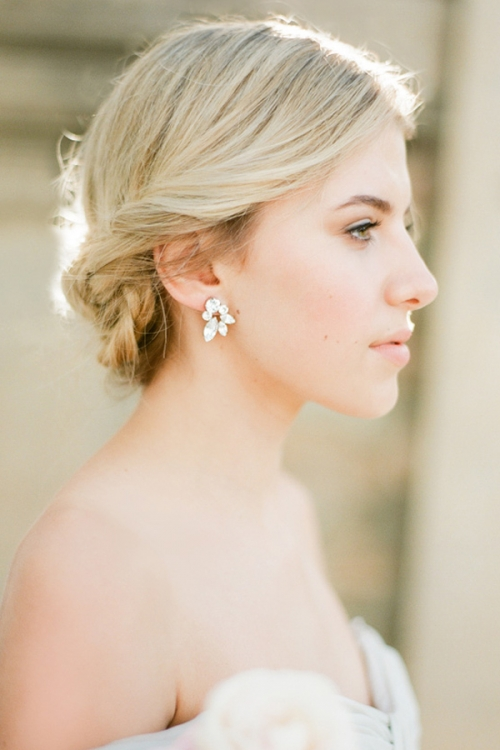 Delicate Stud Silver Earrings by Bride La Boheme