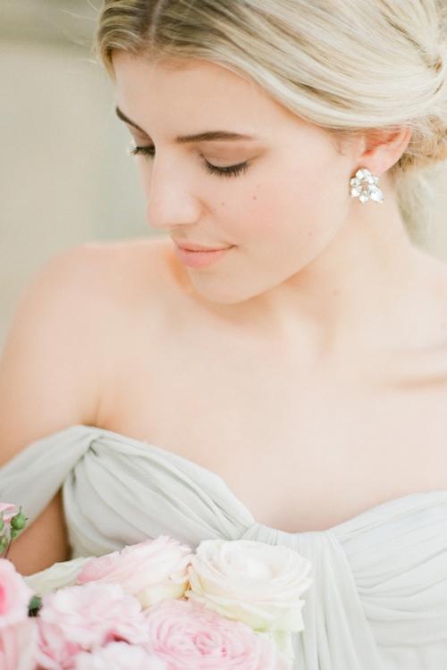 Delicate Stud Silver Earrings by Bride La Boheme