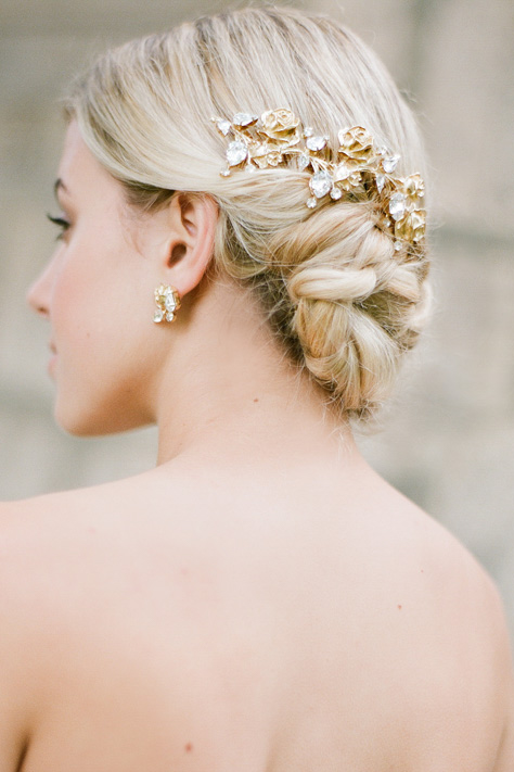 Vintage Inspired Gold Hair Comb by Bride La Boheme
