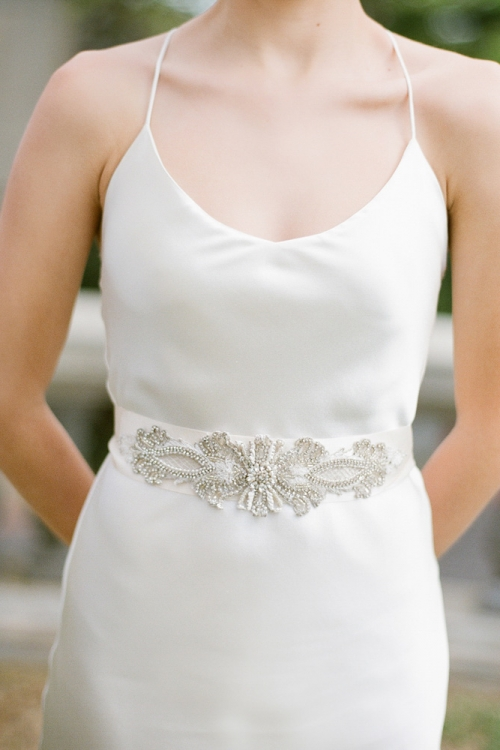 Crystals and Pearls Wedding Sash by Bride La Boheme