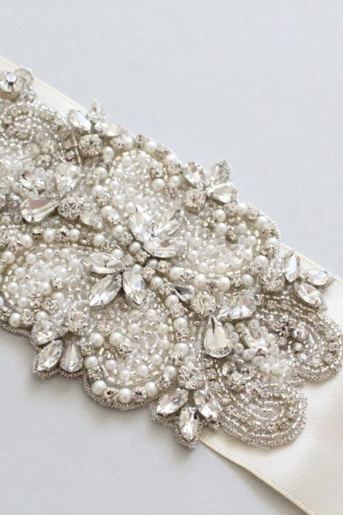 Crystal Bridal Sash -Style S1 Handcrafted by Bride La Boheme