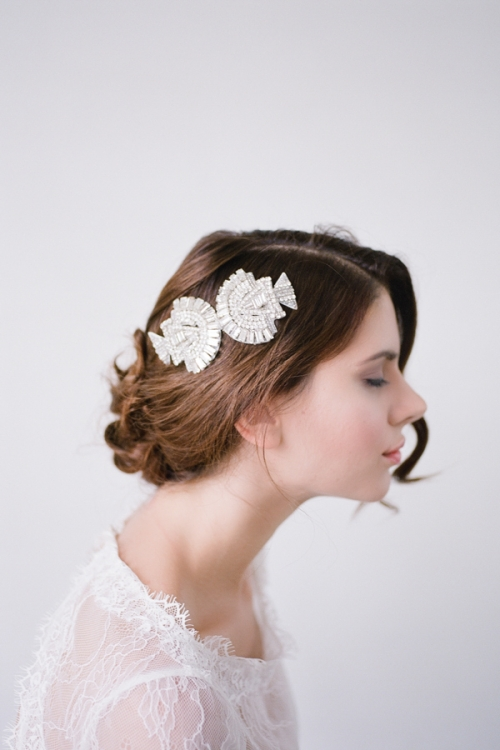 Beautiful Art Deco era inspired crystal bridal head comb made by Bride La Boheme