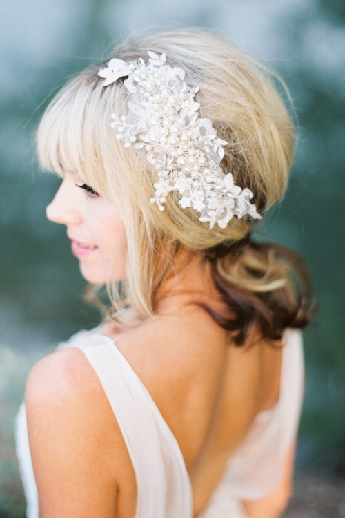 Pearl Encrusted Bridal Hairpiece by Bride La Boheme