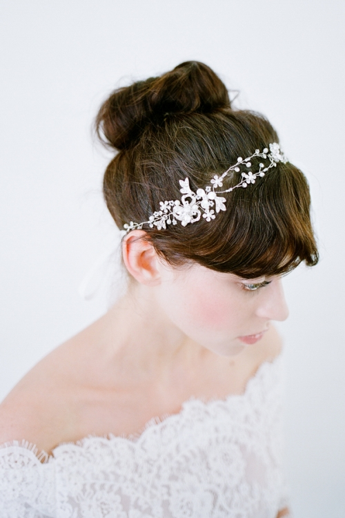 Julia Silver Bridal Halo- Vintage Inspired Accessories by Bride La Boheme