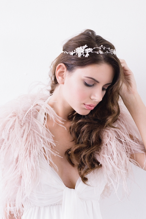 Vintage Inspired Silver Bridal Halo by Bride La Boheme