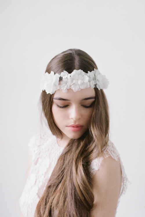 White Chiffon Floral Hair Sash by Bride La Boheme