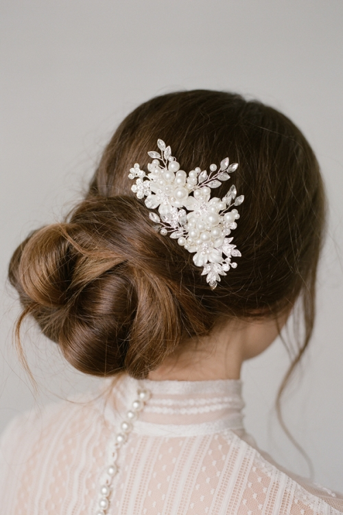 Silver Crystals and pearls Hair Comb by Bride La Boheme