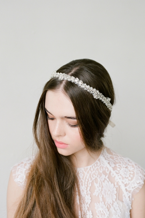 Silver and Pearls Hair Sash by Bride La Boheme