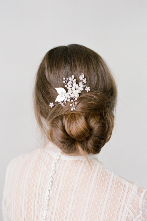 Floral Silver Hair Comb by Bride La Boheme