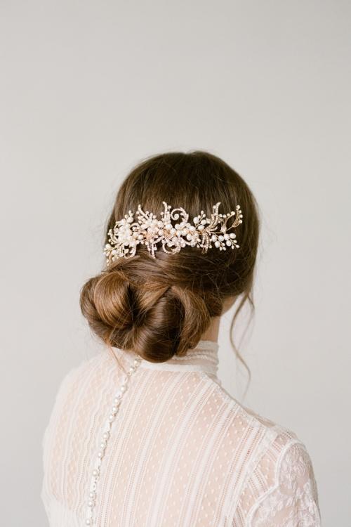 Floral Gold Hair Comb by Bride La Boheme