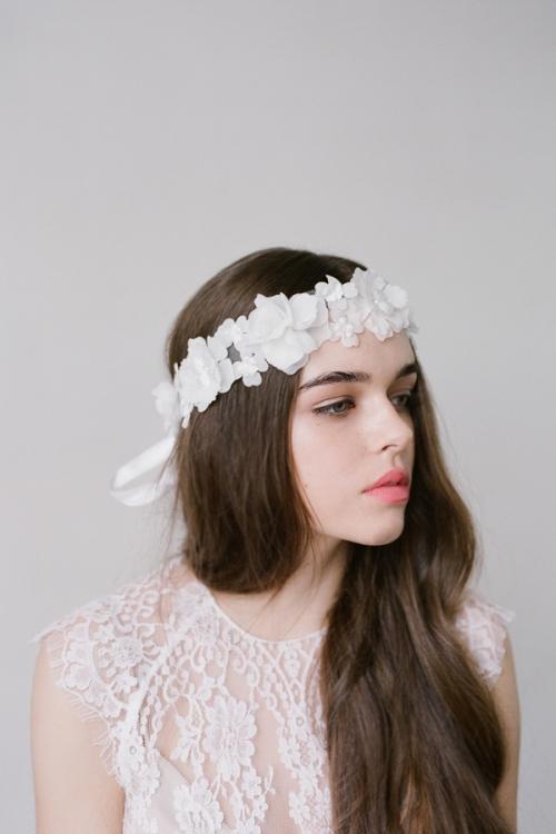 White Chiffon Floral Hair Sash by Bride La Boheme