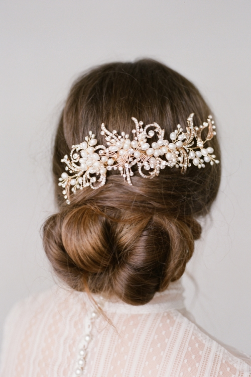 Floral Gold Hair Comb by Bride La Boheme