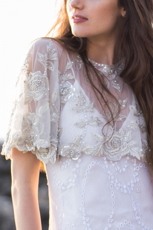 Crystal Embroidered Bridal Cape by Bride La Boheme