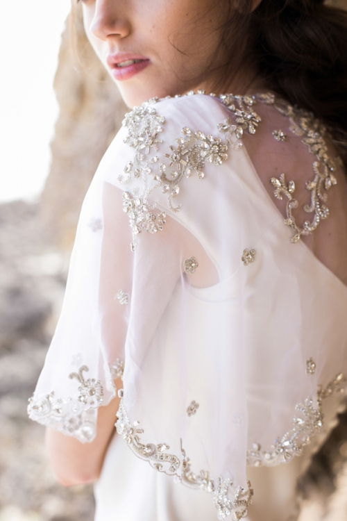 Crystal Embroidered Silver Wedding Cape by Bride La Boheme