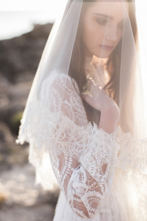 French Lace Ivory Veil by Bride La Boheme