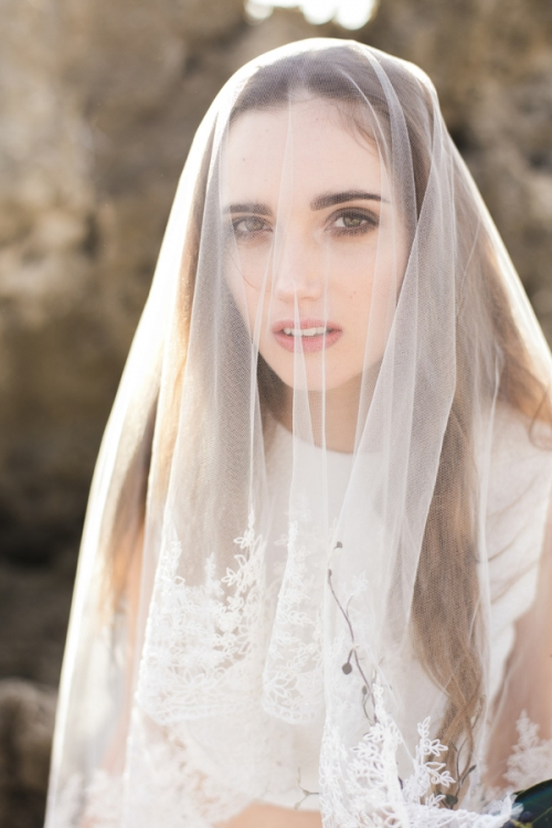 Intricately Hand Embroidered Wedding Veil by Bride La Boheme
