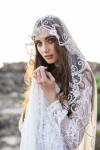 Hand Embroidered Crystal Wedding Veil by Bride La Boheme