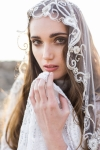 Hand Embroidered Crystal Wedding Veil by Bride La Boheme