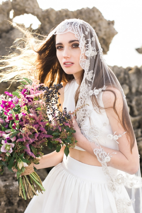 Heirloom Vintage Inspired Embroidered Bridal Veil by Bride La Boheme