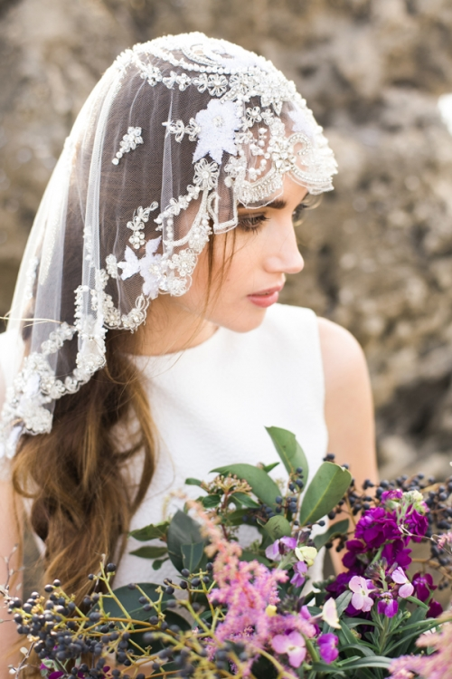Heirloom Mantilla Veil with Crystals by Bride La Boheme