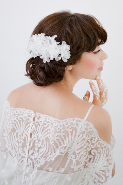 Lola White Floral Headpiece by Bride La Boheme