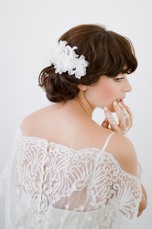 Lola White Floral Headpiece by Bride La Boheme