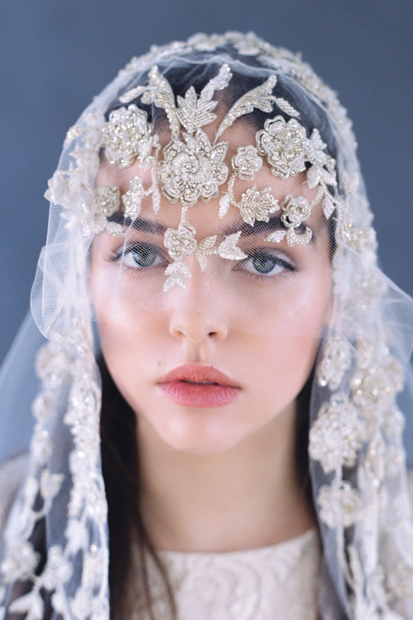 Juliet Cap Wedding Veil Embroidered With Crystals Bridal