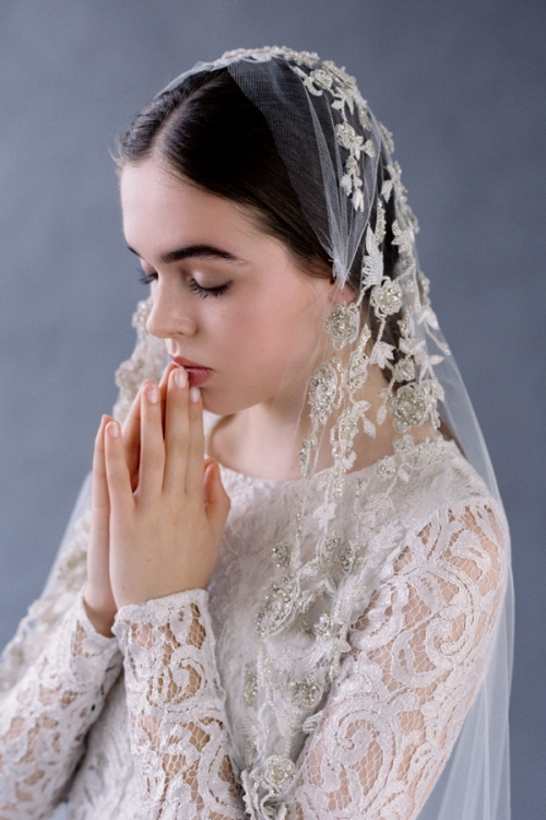 Bridal veil embroidered with beautiful crystals on finest bridal tulle by Australian Bride La Boheme