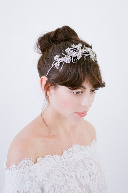 Halcyon Bridal Headband - Vintage Inspired Crystal Weddings Adornments by Bride La Boheme