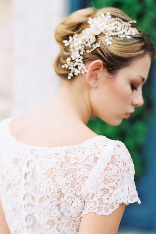 Heirloom Wedding Hair Accessories with Gold and Crystals by Bride La Boheme