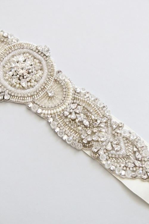 Crystal Bridal Sash -Style Virginia Handcrafted by Bride La Boheme