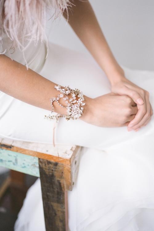 Unique Gold Bridal Bracelet with Crystals and Floral Findings by Bride La Boheme