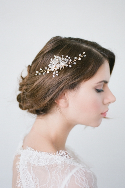 Delicate Hand Wired Crystal Hair Comb by an Australian Bride La Boheme