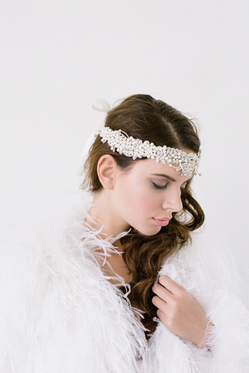 Cosima is made with opaque ivory glass and fabric beads in a head wrap design which ties nicely at the back with an ivory slim satin ribbon- by Bride La Boheme