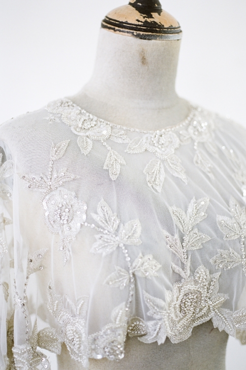 Wedding Embroidered Capelet with pearls and crystals by Bride La Boheme