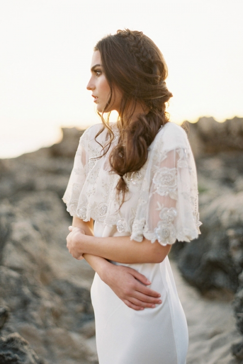 embroidered bridal cape with crystals