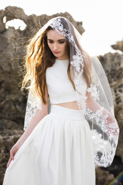 Heirloom Vintage Inspired Embroidered Bridal Veil by Bride La Boheme