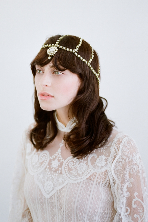 Bronze Bohemian Head Chain made with clear crystals and bronze metal -by Bride La Boheme
